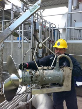 Riccardo DeCarli, Mechanic at Staffrod WPCF, carrying out routine maintenance on a Landia mixer.