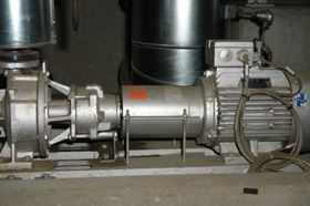 Allweiler pump of the Allheat series used as a circulation pump for emergency cooling. The liquid is synthetic thermal oil (Diphyl THT), discharge pressure 3.5 bar capacity 105 m3/h.