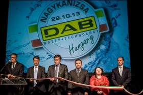 Cutting the ribbon at the official opening of DAB's new plant in Hungary