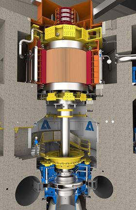 3D-vizualitation of a pump unit with generator, shaft and turbine. © Andritz.