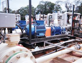 The Warren two-screw pumps for transporting viscous crude oil from the production field.