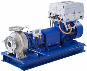 The new MegaCPK type series from KSB's Pegnitz factory equipped with the PumpDrive variable speed system and the PumpMeter monitoring unit. (KSB Aktiengesellschaft, Frankenthal).
