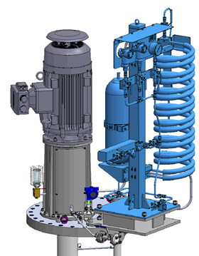 Computer generated render showing bespoke base plate design housing the API 610 VS4 pump and Plan 53B seal support system.