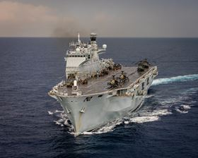 The amphibious assault ship, formerly the UK's helicopter carrier and the fleet flagship the Royal Navy HMS Ocean is seen in the Mediterranean. (Image: MoD/Crown copyright 2016.)