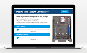 The Dosing Skid Configurator generates an interactive 3D model of a pre-engineered dosing skid system.