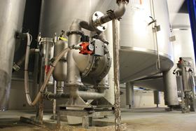 A stainless-steel Wilden Advanced PX Series AODD Pump in use at the SABA B.V. glue- and adhesive-manufacturing facility in the Netherlands.