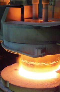 Figure 1a. Glass production – there are several forming, coating and quality control steps, starting with the red-hot glass.