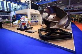 The large fish-friendly flood control impeller was on display at Aquatech Amsterdam.