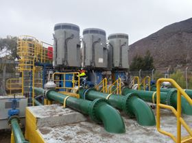 Figure 5. Choapa 1 pump station fully equipped with Neptuno Pumps VTP1000X powered by reused 1500 HP motors.