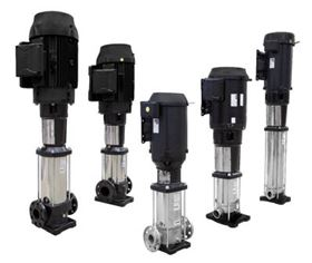 Franklin Electric VR Series vertical, stainless steel multi-stage pumps.