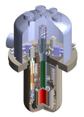 A rendering of TerraPower's traveling wave reactor design. Image courtesy of TerraPower.
