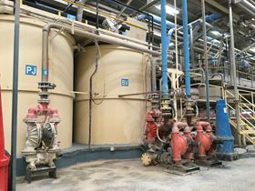 Wilden Original Series Air-Operated Double-Diaphragm (AODD) Pumps in operation at a ceramic plant in Spain.