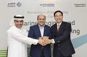 Left to right: Rasheed Al Shubaili, CEO, Dussur; Zaid Murshed, Vice President, New Business Development, Saudi Aramco; and Kidon Chang, CEO of Engine Business, Hyundai Heavy Industries.
