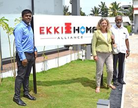 Left to right: Kanishka Arumugam (chief executive, EKKI HOMA), Karin Stoll (German Consul General Chennai) and P Arumugam (chief executive, EKKI & Deccan Pumps Pvt Ltd).