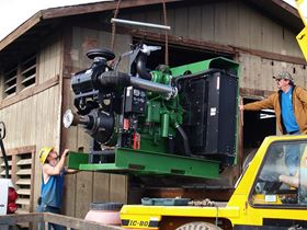 The team at Groundwater Pump & Well prepare to install a 450 horse power forest protection engine for a 4500 GPM Pump.