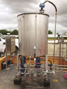 Neptune fabricated 43 complete corrosion-inhibitor injection systems for the oil company that consist of a pair of 515 model diaphragm metering pumps and a stainless-steel 250-gallon tank in which the corrosion inhibitor is stored.