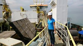 Engineer/hydrographic surveyor Emeline Veit spends half the year living and working on a 100 m offshore vessel.