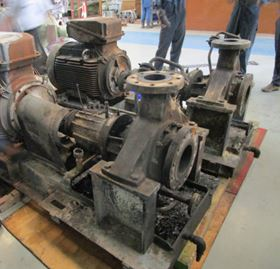 Two fire damaged pumps arrive at the Hydro Middle East Service Centre.