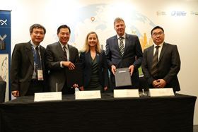 Grundfos and PUB sign an MoU to develop water technologies: (Left to right) PUB Chief Executive Ng Joo Hee; PUB Assistant Chief Executive Harry Seah; Danish Ambassador Her Excellency Dorte Bech Vizard; Grundfos Regional Managing Director Kim Jensen; and Grundfos Head of Innovation Hub Gao Xin.