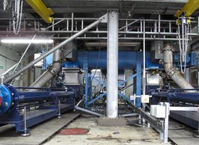 SEEPEX open hopper pumps transferring high ds% dewatered sludge at Thames Water.