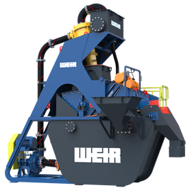 The plant features Warman WGR pumps, Cavex hydrocyclones, Enduron dewatering screens, Linatex hoses and Isogate knife gate valves.