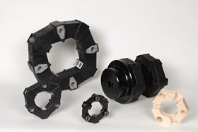 Elements from R+L Hydraulics' LF torsional coupling series.