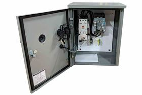 The Larson Electronics' sewage and wastewater pump motor combination starter operates on 230V AC and a maximum of 6.8 amps.