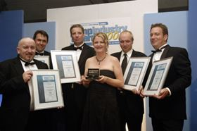 Heidi proudly receives an award on behalf of Alldos at the Pumps Industry Awards. Alldos won the Technical Innovation of the Year 2006 for its digital dosing pump with integrated flow monitor.