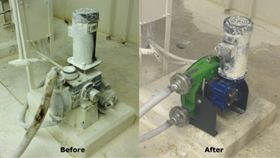 Before and after images of the refurbishment at the US wastewater treatment plant.