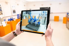 The tablet's camera uses Ground Plane Detection to detect the floor of the respective room and then positions the model accordingly.