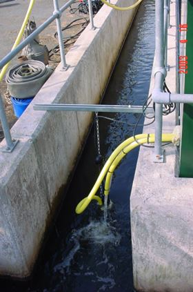 Figure 2. The submersible pump of the sampling system copes with low flow and low sample levels, grit, ragging and turbulent flow.
