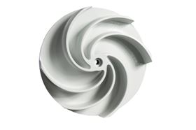 The asymmetrical blade arrangement allows solids of different sizes to easily pass the new F-max impeller.