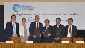 The MOU was signed by Tan Yok Gin, PUB Deputy Chief Executive (Operations) and Grundfos's Poul Due Jensen. Singapore's Environment and Water Resources Minister Dr Vivian Balakrishnan, and the Danish Environment Minister Kirsten Brosbøl attended the signing ceremony.