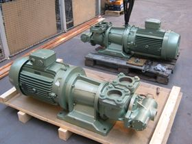 Varley's range of standard double helical gear pumps.
