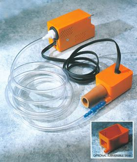 Pumps such as the mini orange from Aspen Pumps were among the first mini condensate pumps which could be hidden above the ceiling void.