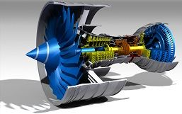 A cross section of a 3D turbine showing a digitalized image of the equipment produced using 3D laser scanning.