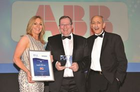 Ian Allan, centre, Local Business Unit Manager - Motors & Generators, collected the award on behalf of ABB. He is flanked by PIA host Helen Fospero and category sponsor Peter Ullman of Process Industry Informer.