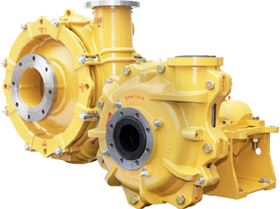The model EMW pump is configured in both hard iron and elastomer lined versions.