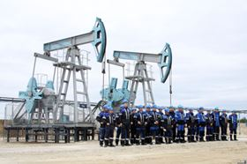 Oil pumps at the opening of the new oil production unit in Niznivartovsk city at the Far East part of the country.