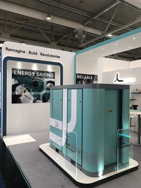 Lontra's LP2 blade compressor on show at Hannover Messe.