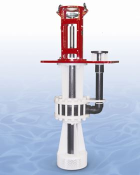 The Sump-Gard model SGK-2700 thermoplastic centrifugal pump handles flows to 4,500 lpm (1,200 gpm) at heads to 60 m (200 ft).