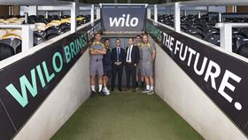 Left to right: Burton Albion captain Jake Buxton, manager Nigel Clough; Richard Harden (MD Wilo UK); Morgan Warren-Ross (marketing manager Wilo UK), and players Stephen Bywater and Liam Boyce.