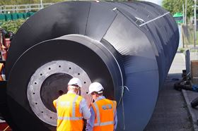 The new Archimedes screw installed by ECS Engineering Services measured 20 m in length and 3.1 m in diameter and weighed 21 tonnes with a 3645 litres per second capacity.