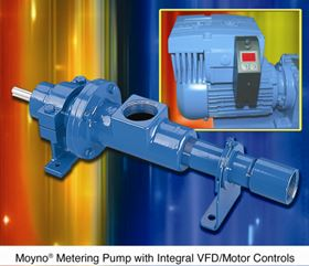 Moyno's metering pump with integral VFD/motor controls.