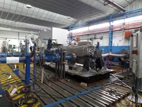 """The """"Beast B3"""" on the test stand at the Spanish Sundyne manufacturing facility. This pump will be the most powerful BB3 produced with a rated power of over 1.2 MW and capable of handling working pressures over 70 bars. Image: PRNewsFoto/Sundyne."""