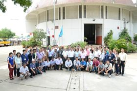 Ebara flood control pump seminar participants in front of the RAMA IV drainage pumping station in Thailand.
