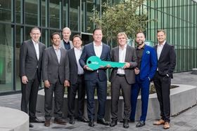 Wilo CEO Oliver Hermes receives the key to the new Smart Factory at Wilopark in Dortmund, Germany.