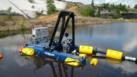 Remote controlled Dragflow dredge cleans coal mine tailing ponds