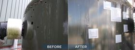 Before and after images of repairs on steel plate with Belzona cold plate bonding technology.