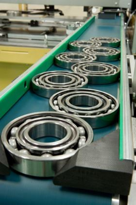 Typical deep groove ball bearings on the production line at Barden's Plymouth plant.